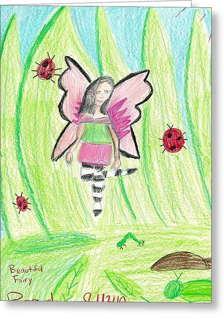 Greeting Card featuring the drawing Beautiful Fairy by Fred Hanna