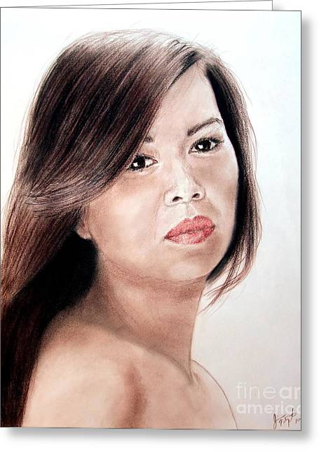 Beautiful Filipina Woman Greeting Card by Jim Fitzpatrick