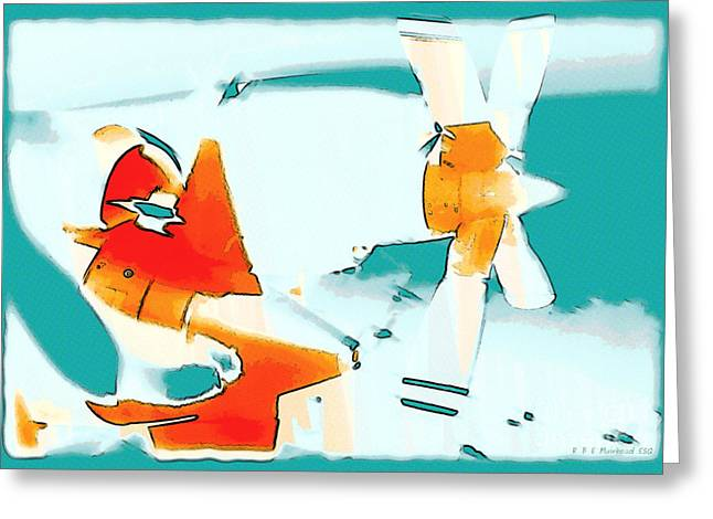 Greeting Card featuring the photograph Fixed Wing Aircraft Pop Art by R Muirhead Art