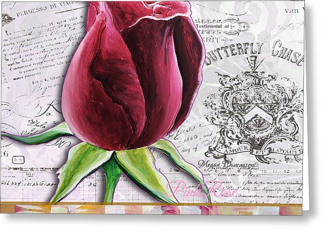 Beautiful Floral Pink Rose Original Flower Painting By Megan Duncanson Greeting Card by Megan Duncanson