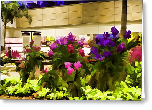 Beautiful Flowers Inside The Changi Airport Greeting Card by Ashish Agarwal