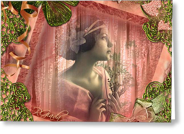 Greeting Card featuring the digital art Beautiful Fragility - Vintage Scrap Art By Giada Rossi by Giada Rossi