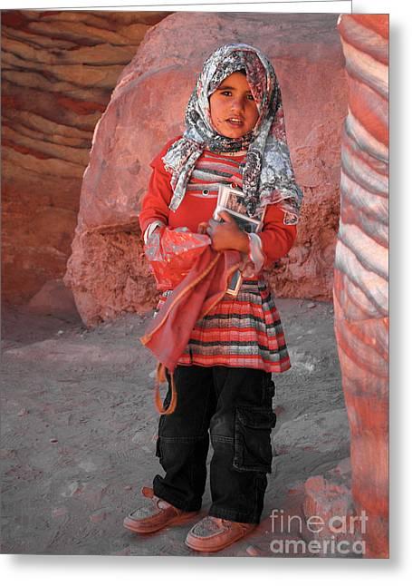 Beautiful Girl At Petra Jordan Greeting Card