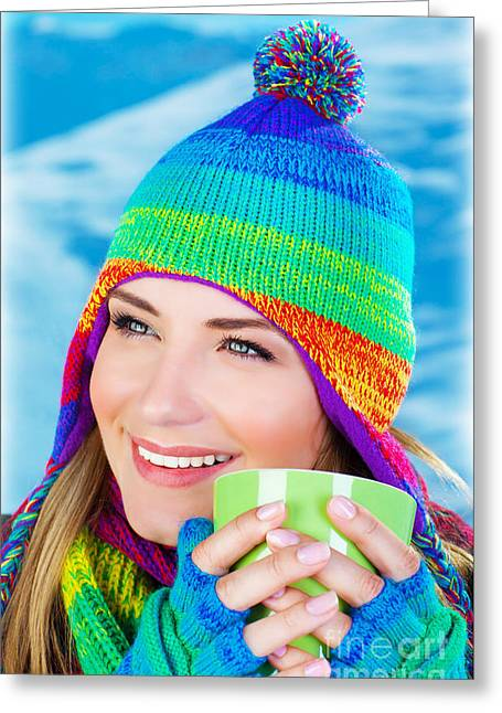 Beautiful Girl Drinking Coffee Greeting Card by Anna Om