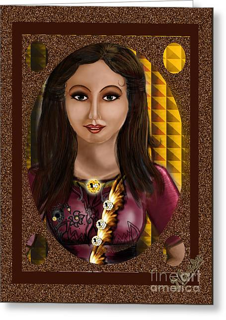 Beautiful Girl In The Frame  Greeting Card by Artist Nandika  Dutt