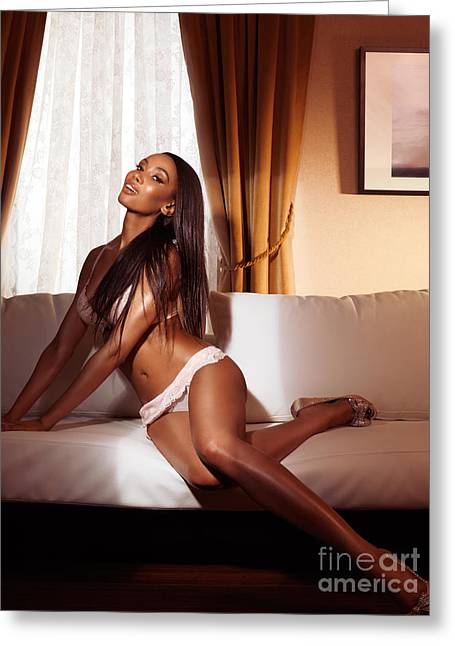Beautiful Glamorous Smiling Black Woman In Lingerie Posing On So Greeting Card