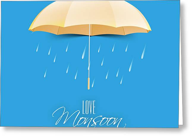 Beautiful Glossy Golden Umbrella On Greeting Card