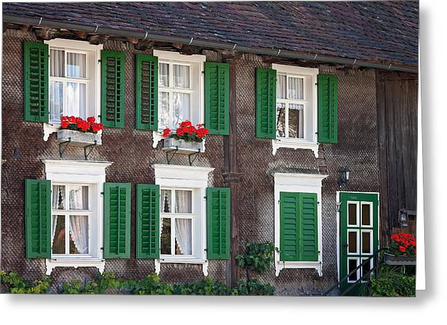 Beautiful House In Austria With Decoration Greeting Card by Tatyana Tomsickova