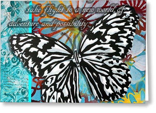 Beautiful Inspirational Butterfly Flowers Decorative Art Design With Words Give Your Dream Wings Greeting Card