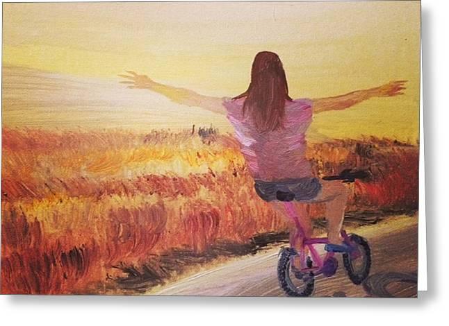 Bike  By Janelle Dey Greeting Card