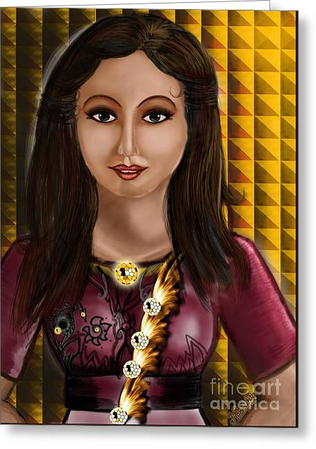 Beautiful Lady Greeting Card by Artist Nandika  Dutt