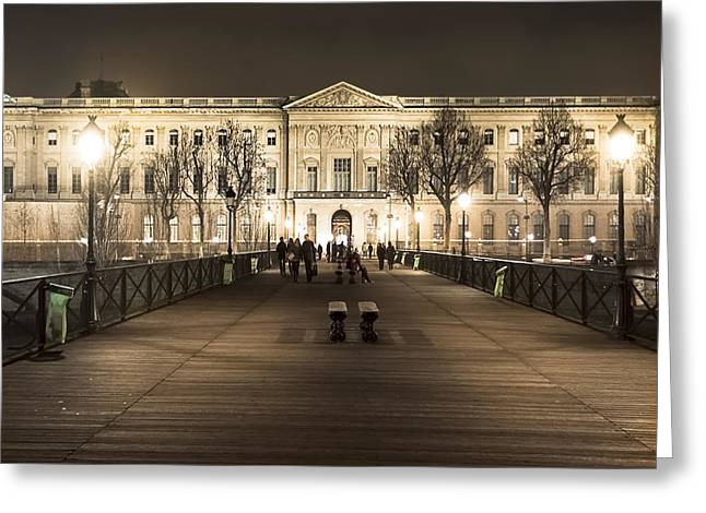 Beautiful Louvre Museum Viewed From The Pont Des Arts At Night Greeting Card by Mark E Tisdale