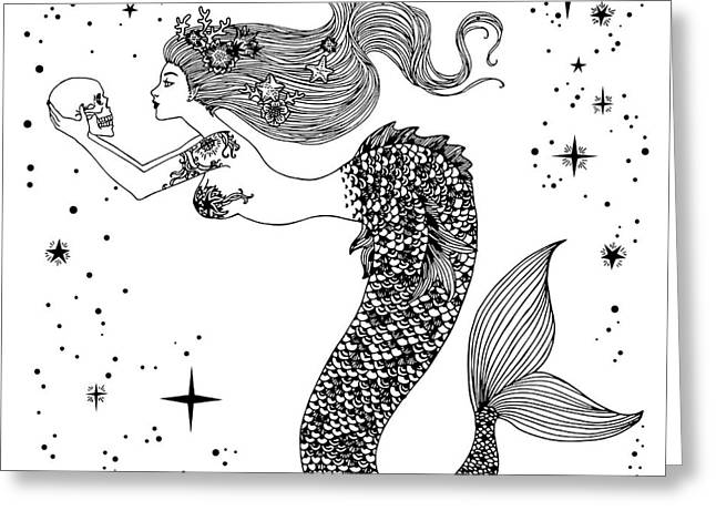 Beautiful Mermaid With Human Skull In Greeting Card by Anastasia Mazeina