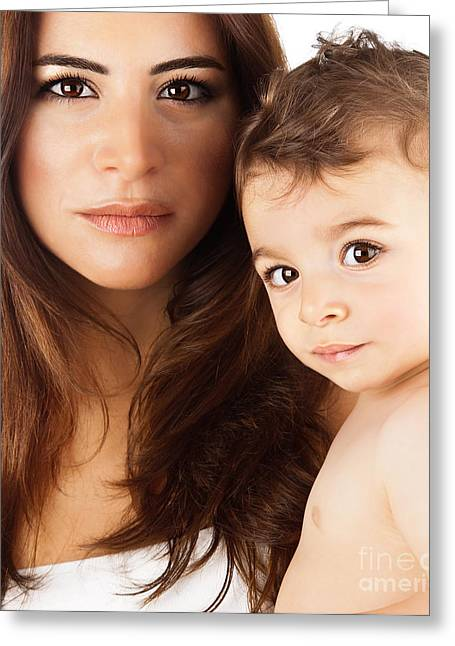 Beautiful Mother Holding Baby Boy Greeting Card by Anna Om