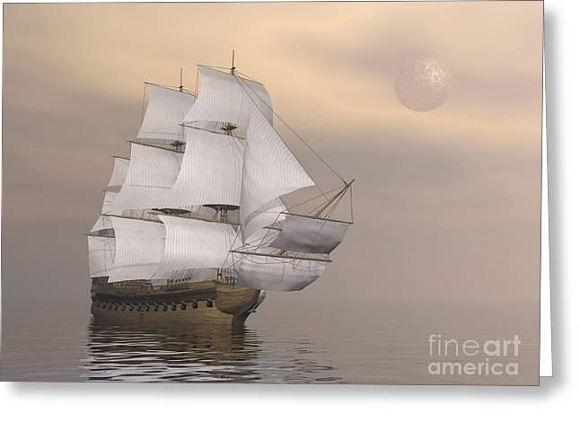 Beautiful Old Merchant Ship Sailing Greeting Card