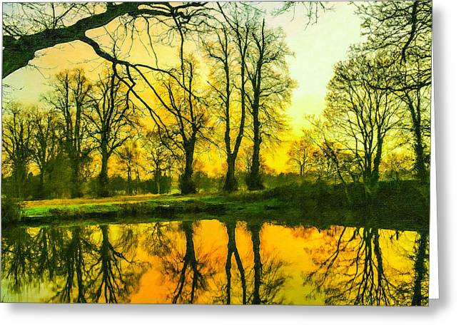 Beautiful Park Pond In Autumn At Sunset Greeting Card by Lanjee Chee