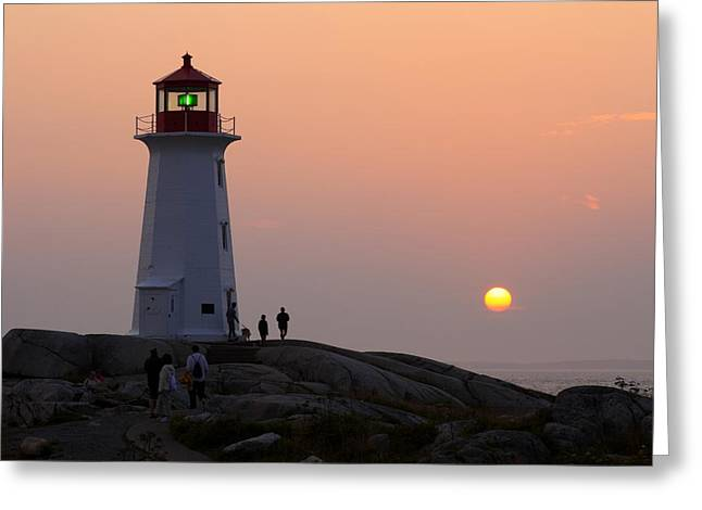 Beautiful Peggy's Cove Lighthouse Sunset Greeting Card