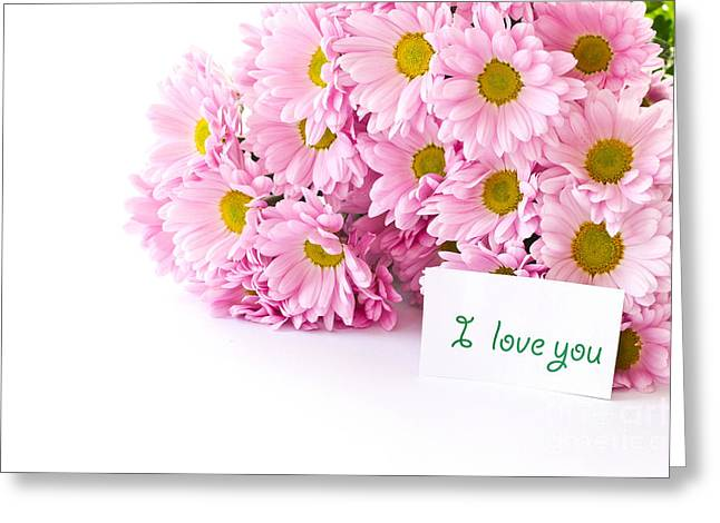 Beautiful Pink Chrysanthemums Greeting Card by Boon Mee
