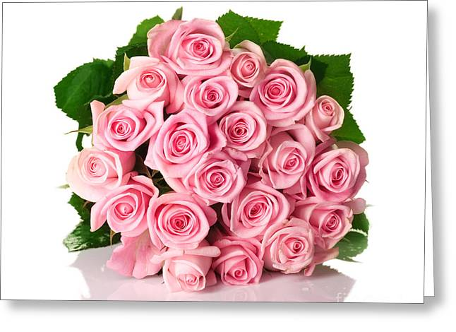 Beautiful Pink Rose Bouquet Greeting Card by Boon Mee