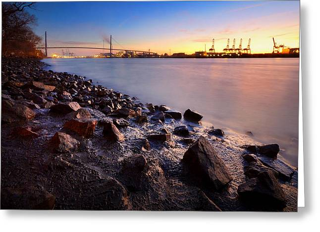 Beautiful Port Of Hamburg Greeting Card