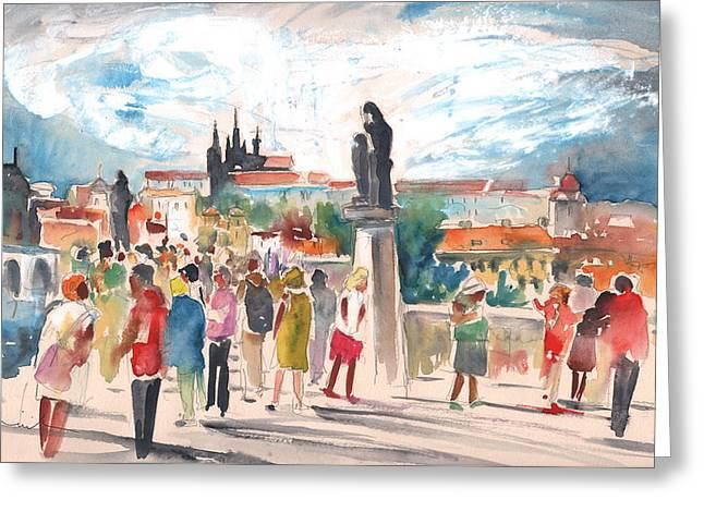 Beautiful Prague Greeting Card by Miki De Goodaboom
