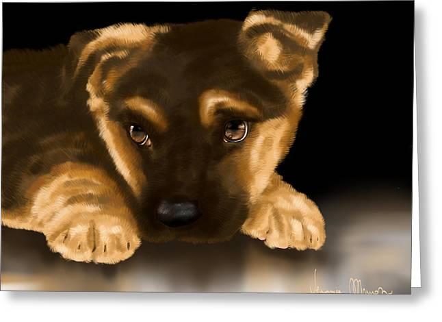 Beautiful Puppy Greeting Card by Veronica Minozzi