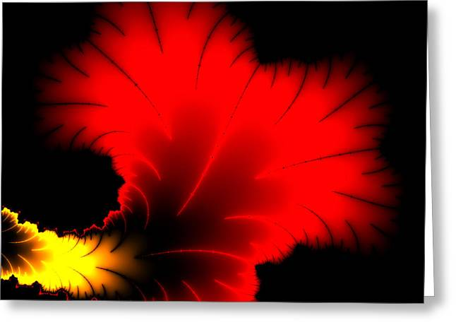 Beautiful Red And Yellow Floral Fractal Artwork Square Format Greeting Card by Matthias Hauser