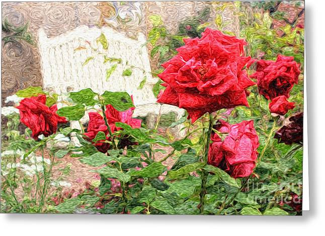 Beautiful Red English Roses With White Bench Greeting Card by Beverly Claire Kaiya