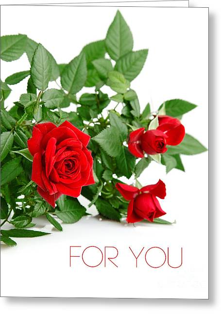 Beautiful Red Roses For You Greeting Card