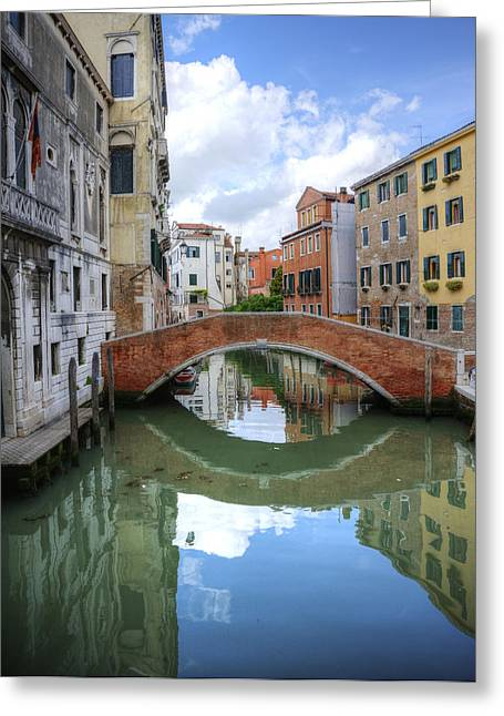 Beautiful Reflections Of Bridge In Canal In Venice Italy Greeting Card