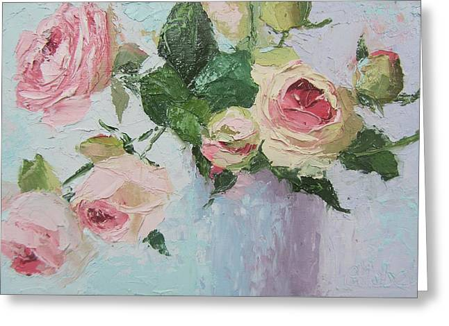 Beautiful Roses Oil Palette Knife Painting Greeting Card