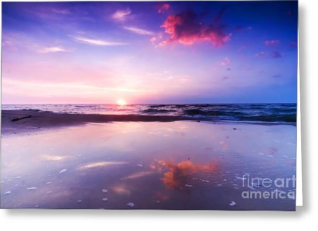 Beautiful Sea Sunrise Greeting Card by Michal Bednarek