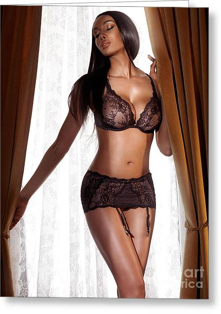 Beautiful Sexy Black Woman In Lingerie Standing At The Window Greeting Card