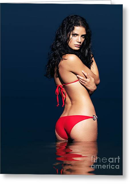 Beautiful Sexy Woman In Red Bikini In Water Greeting Card