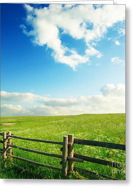 Beautiful Sky On Greens Landscape Greeting Card by Boon Mee