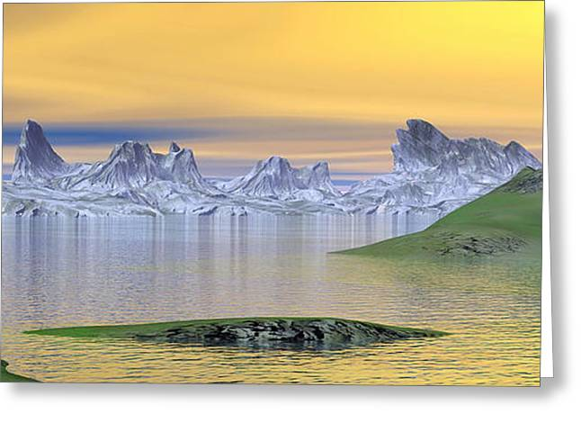 Beautiful Sunset Over Landscape Greeting Card by Elena Duvernay