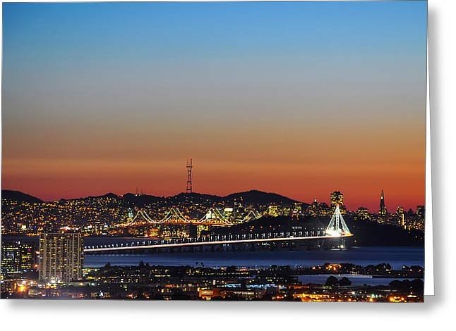 Beautiful Sunset Over The New Bay Bridge And San Francisco Greeting Card