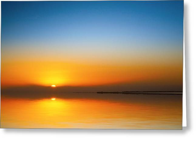 Beautiful Sunset Over Water Greeting Card