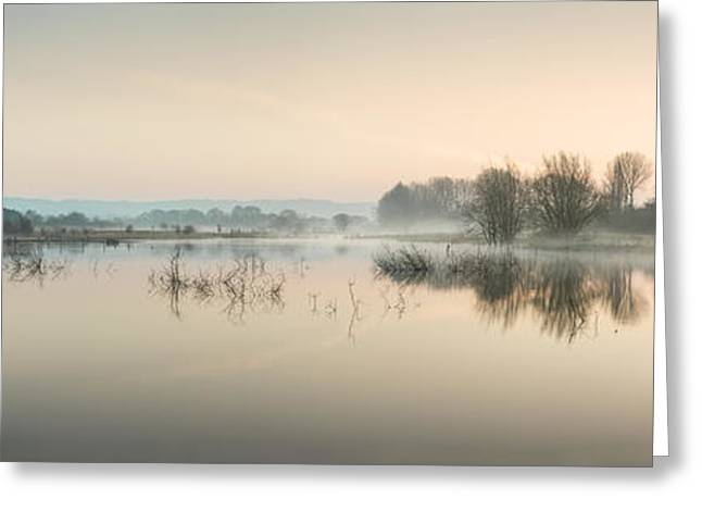 Beautiful Tranquil Mist Over Lake Sunrise Landscape Greeting Card by Matthew Gibson