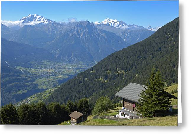 Beautiful View From Riederalp - Swiss Alps Greeting Card