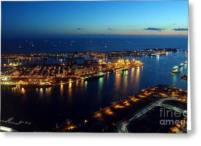 Beautiful View Of Kaohsiung Port At Evening Time Greeting Card