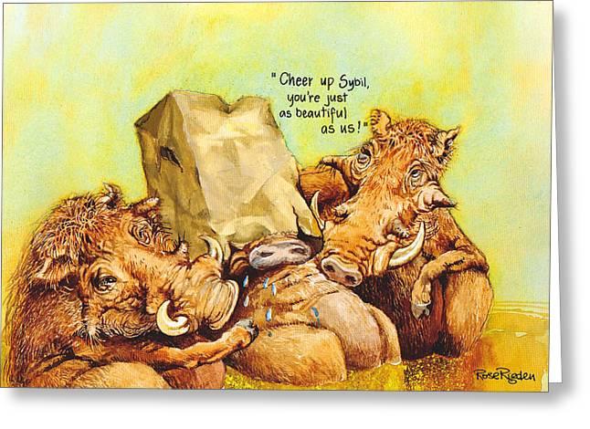 Beautiful Warthog Greeting Card by Rose Rigden