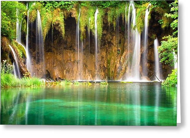 Waterfall Lagoon - Nature Photography Greeting Card