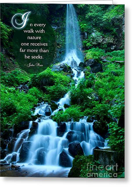 Beautiful Waterfalls Through A Walk With Nature Greeting Card by Beverly Claire Kaiya