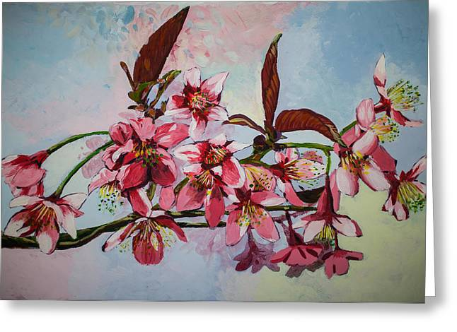 Beautiful Wild Himalayan Cherry Flower With Acylic Color  Greeting Card by Kingkamon Somsa