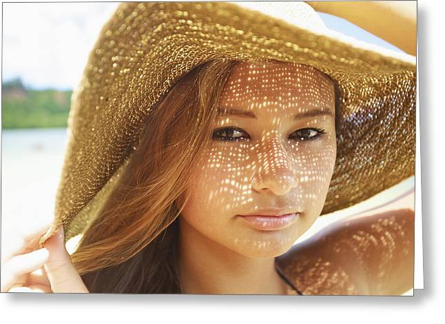 Beautiful Woman At The Beach Greeting Card by Kicka Witte