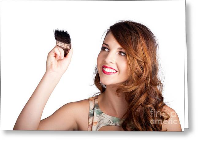 Beautiful Woman Holding Paintbrush Over White Greeting Card by Jorgo Photography - Wall Art Gallery