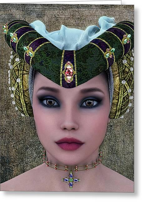 Beautiful Woman Greeting Card by Ramon Martinez