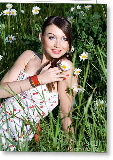 Beautiful Woman Sitting In Tall Grass And Daisies Greeting Card by Diana Jo Marmont