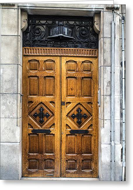 Beautiful Wooden Paris Door Greeting Card